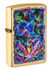 Front shot of Leaf Design Brushed Brass Windproof Lighter standing at a 3/4 angle