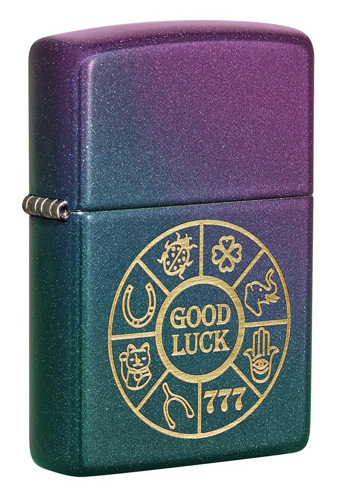 Front shot of Lucky Symbols Design Iridescent Windproof Lighter standing at a 3/4 angle