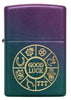 Front of Lucky Symbols Design Iridescent Windproof Lighter