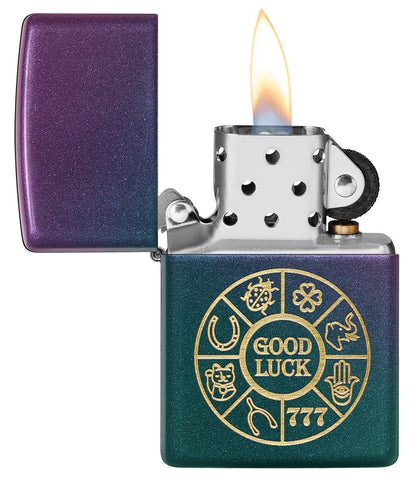 Lucky Symbols Design Iridescent Windproof Lighter with its lid open and lit