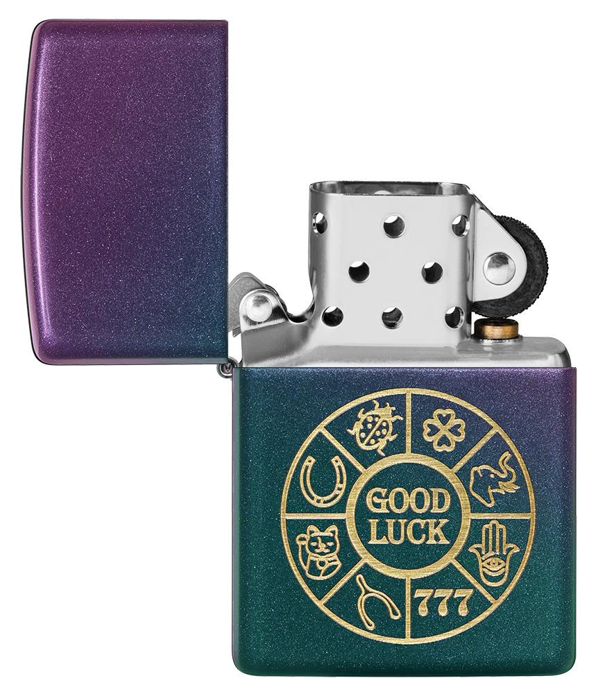 Lucky Symbols Design Iridescent Windproof Lighter with its lid open and unlit