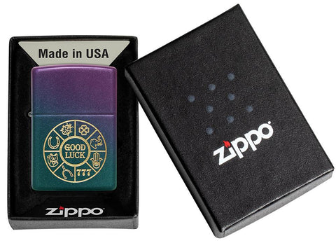 Lucky Symbols Design Iridescent Windproof Lighter in its packaging