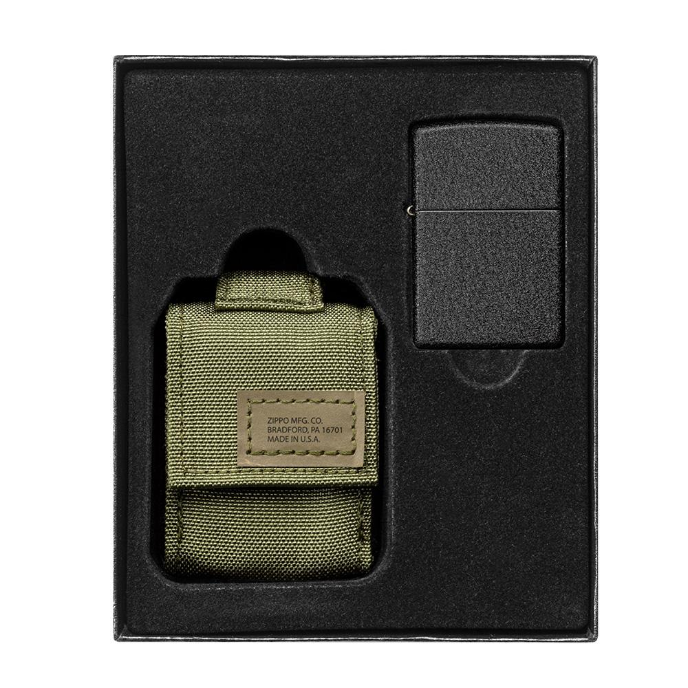 OD Green Tactical Pouch and Black Crackle Windproof Lighter Gift Set in packaging
