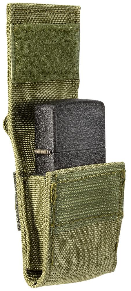 Side view of OD Green Tactical Pouch with included Black Crackle Windproof Lighter