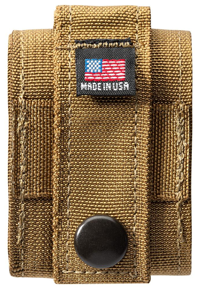 "Back of Coyote Tactical Pouch with ""Made in USA"" tag"