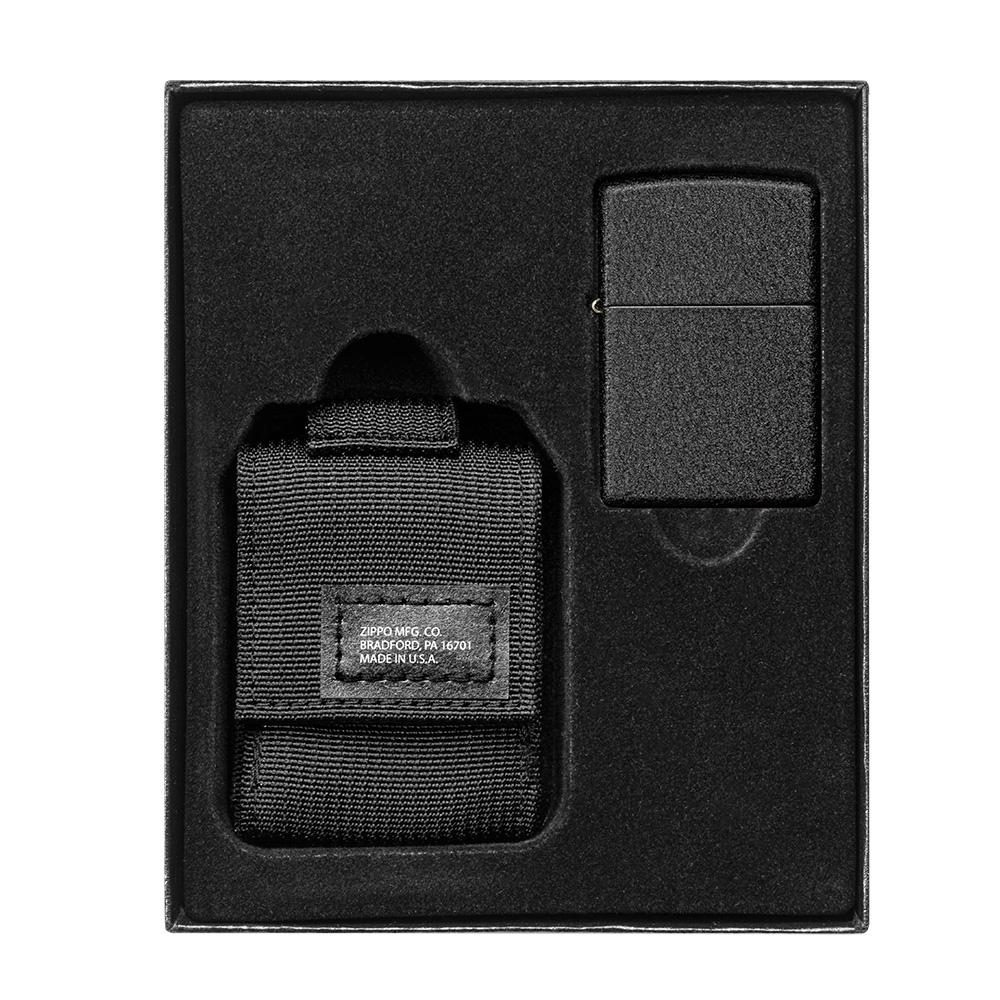 Black Tactical Pouch and Black Crackle Windproof Lighter Gift Set in packaging