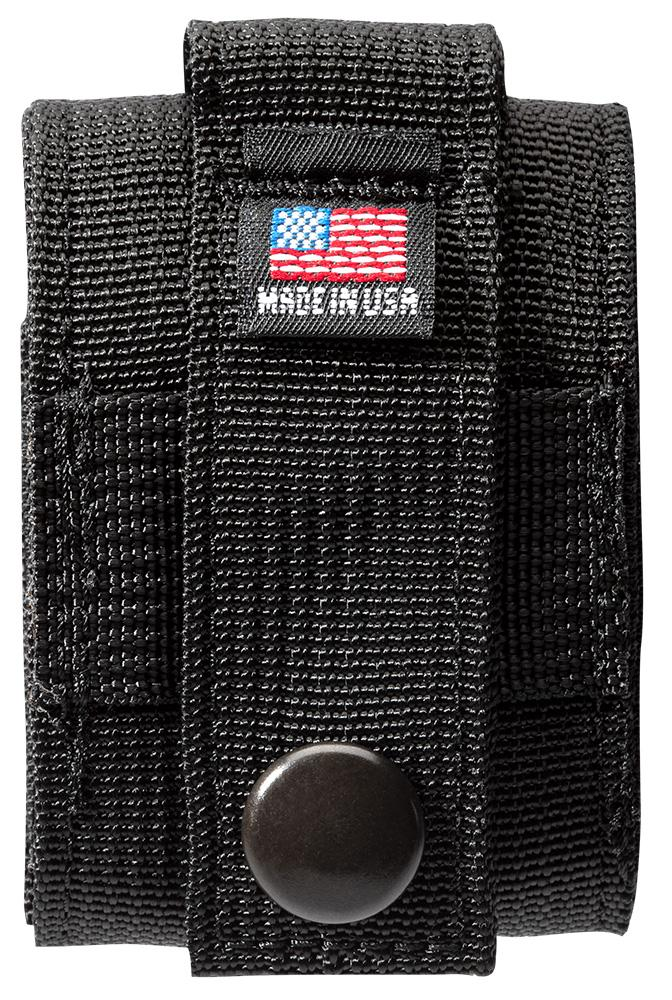 "Back of Black Tactical Pouch with ""Made in USA"" tag"