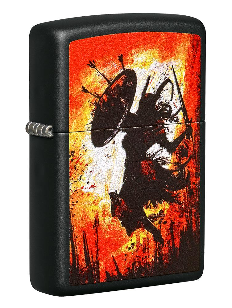 Front shot of Warrior Design Black Matte Windproof Lighter standing at a 3/4 angle
