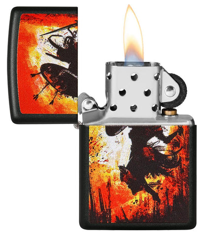 Warrior Design Black Matte Windproof Lighter with its lid open and lit