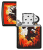 Warrior Design Black Matte Windproof Lighter with its lid open and unlit