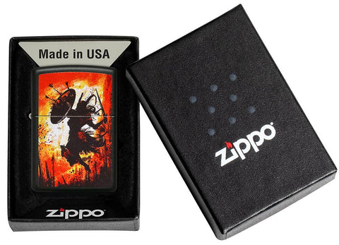 Warrior Design Black Matte Windproof Lighter in its packaging