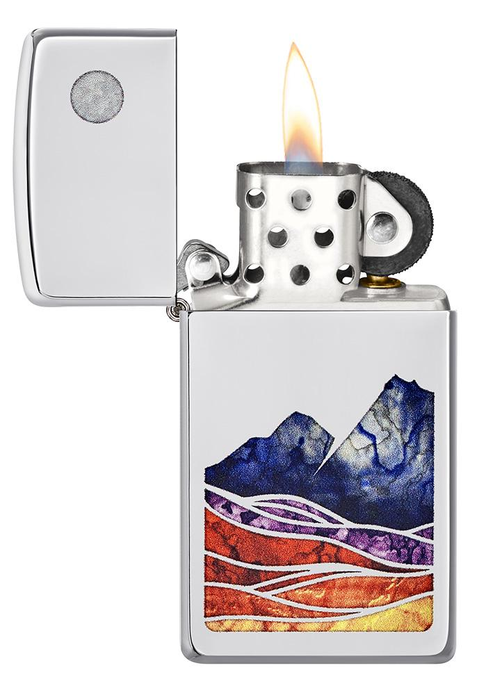 Slim® Landscape Design High Polish Chrome Windproof Lighter with its lid open and lit