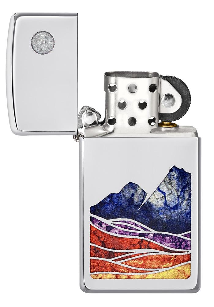 Slim® Landscape Design High Polish Chrome Windproof Lighter with its lid open and unlit