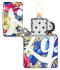 Zippo Floral Design 540 Color Windproof Lighter with its lid open and lit