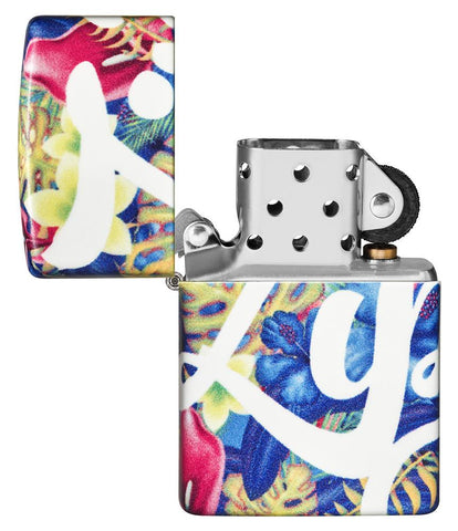 Zippo Floral Design 540 Color Windproof Lighter with its lid open and unlit