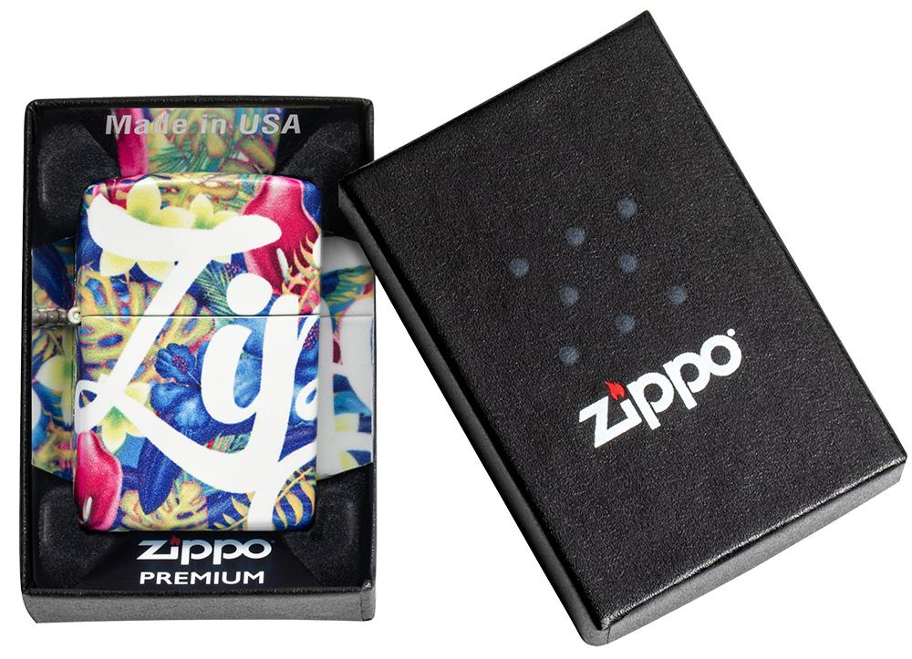 Zippo Floral Design 540 Color Windproof Lighter in its packaging