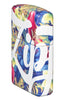 Zippo Floral Design 540 Color Windproof Lighter standing at an angle showing the front and right side of the lighter