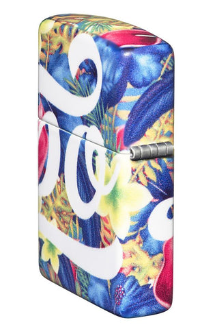 Zippo Floral Design 540 Color Windproof Lighter standing at and angle showing the back and hinge side of the lighter