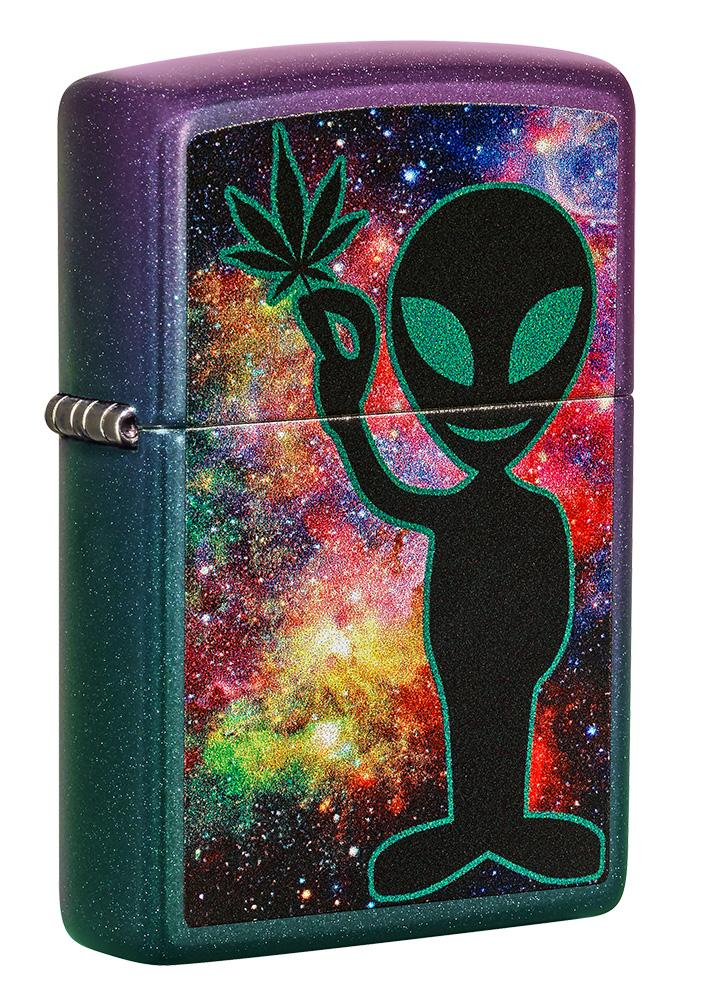 Front shot of Alien Design Iridescent Windproof Lighter standing at a 3/4 angle