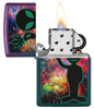 Alien Design Iridescent Windproof Lighter with its lid open and lit