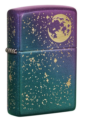 Front shot of Starry Sky Design Iridescent Windproof Lighter standing at a 3/4 angle