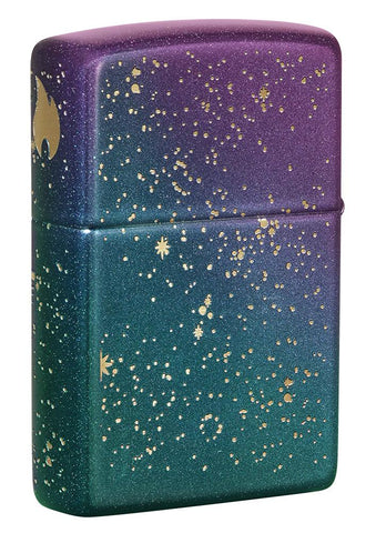 Back shot of Starry Sky Design Iridescent Windproof Lighter standing at a 3/4 angle