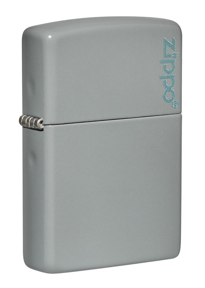 Front shot of Classic Flat Grey Zippo Logo Windproof Lighter standing at a 3/4 angle