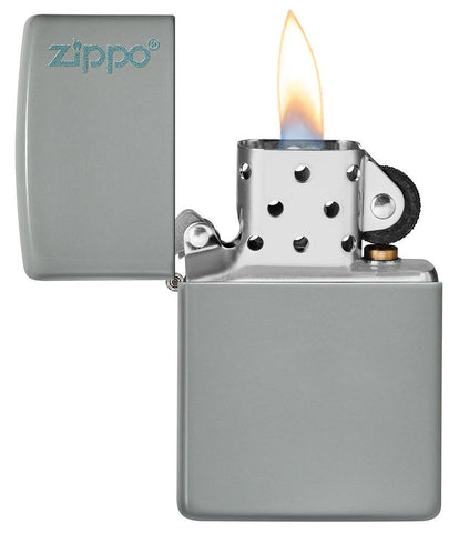 Classic Flat Grey Zippo Logo Windproof Lighter with its lid open and lit