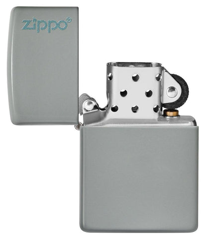 Classic Flat Grey Zippo Logo Windproof Lighter with its lid open and unlit