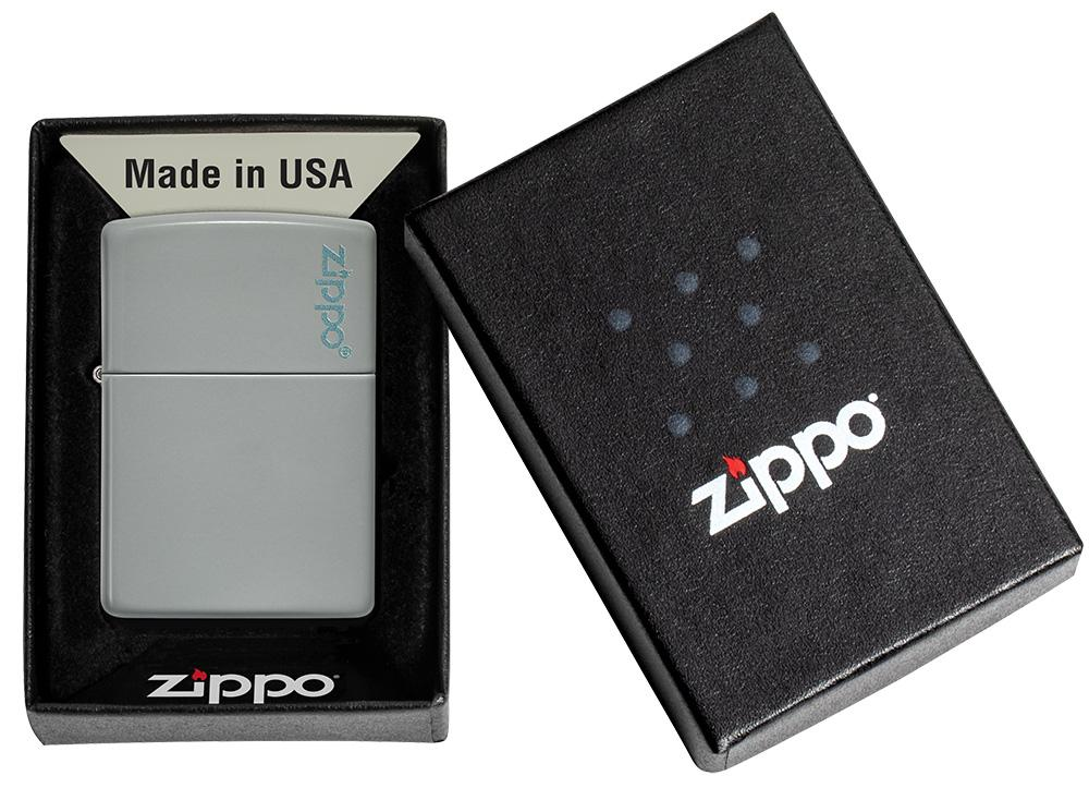 Classic Flat Grey Zippo Logo Windproof Lighter in its packaging