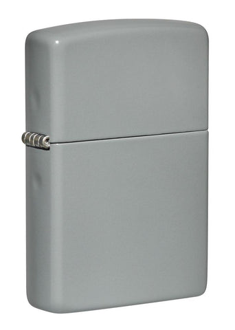 Front shot of Flat Grey Windproof Lighter standing at a 3/4 angle