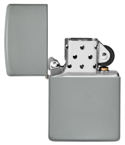Flat Grey Windproof Lighter with its lid open and unlit