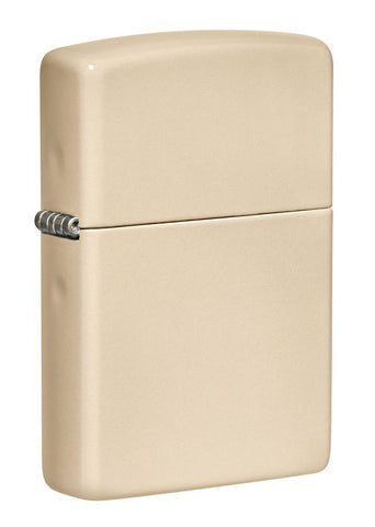 Front shot of Classic Flat Sand Windproof Lighter standing at a 3/4 angle