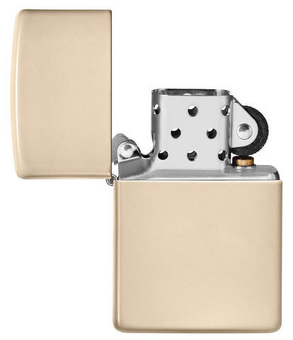 Classic Flat Sand Windproof Lighter with its lid open and unlit