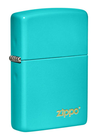 Front shot of Classic Flat Turquoise Zippo Logo Windproof Lighter standing at a 3/4 angle