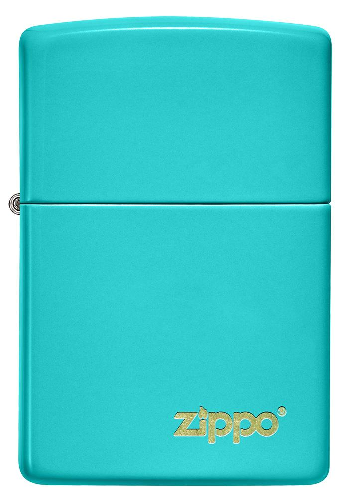Front of Classic Flat Turquoise Zippo Logo Windproof Lighter
