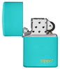 Classic Flat Turquoise Zippo Logo Windproof Lighter with its lid open and unlit