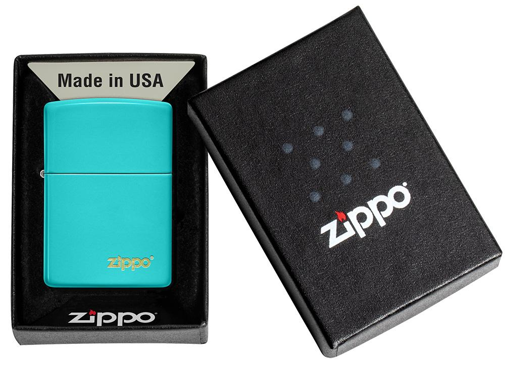 Classic Flat Turquoise Zippo Logo Windproof Lighter in its packaging
