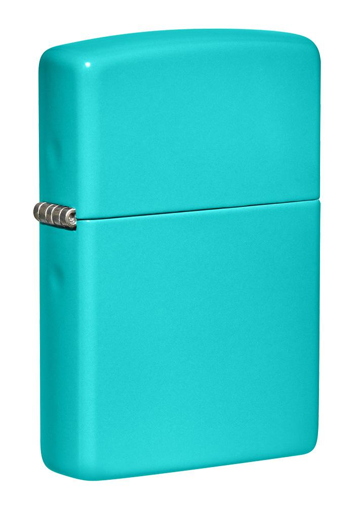 Front shot of Classic Flat Turquoise Windproof Lighter standing at a 3/4 angle