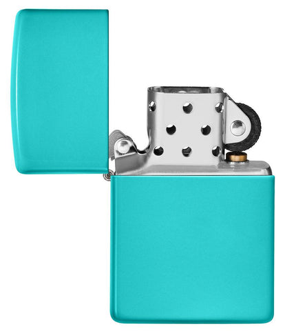 Classic Flat Turquoise Windproof Lighter with its lid open and unlit
