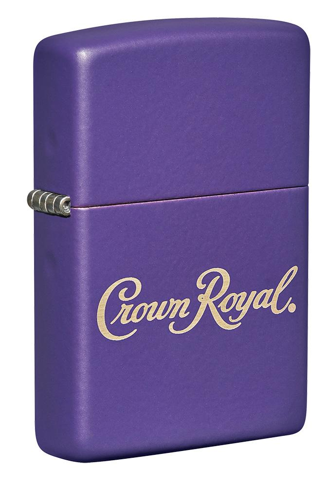 Front shot of Crown Royal® Purple Matte Windproof Lighter standing at a 3/4 angle