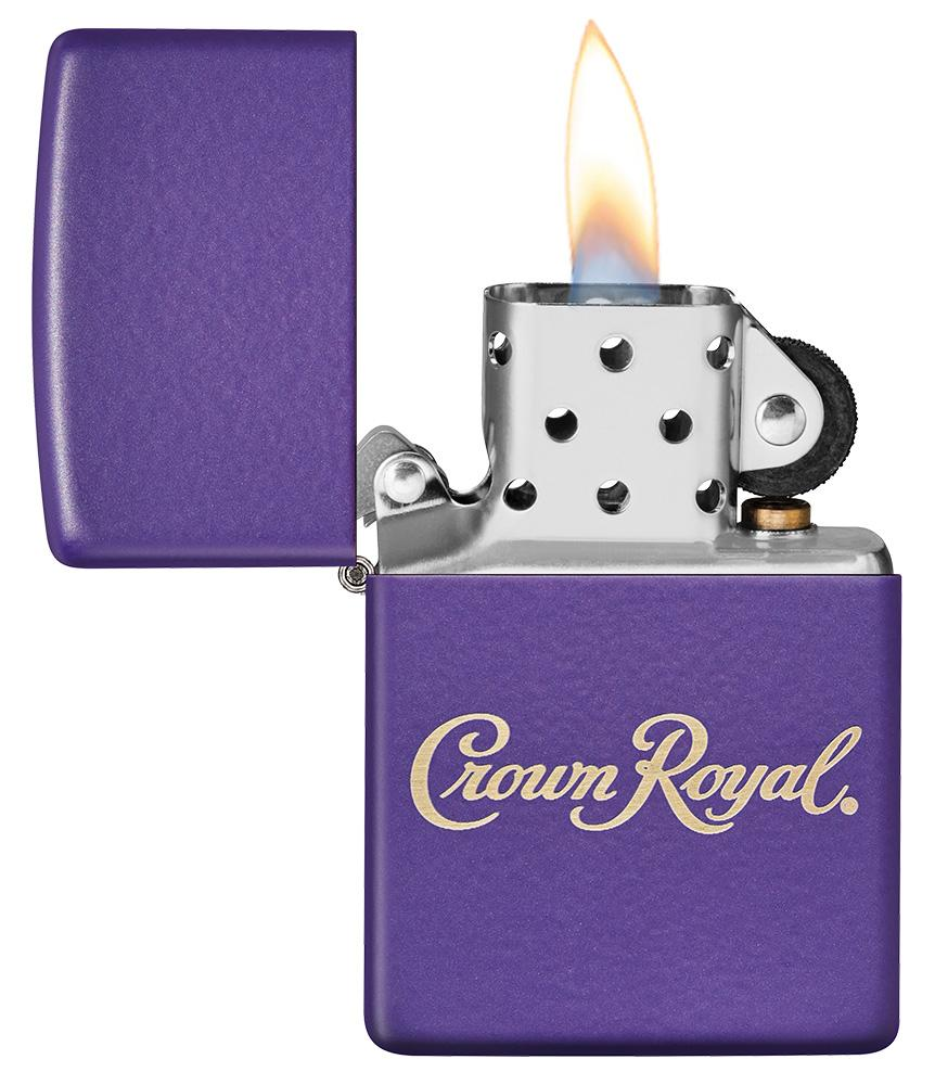 Crown Royal® Purple Matte Windproof Lighter with its lid open and lit