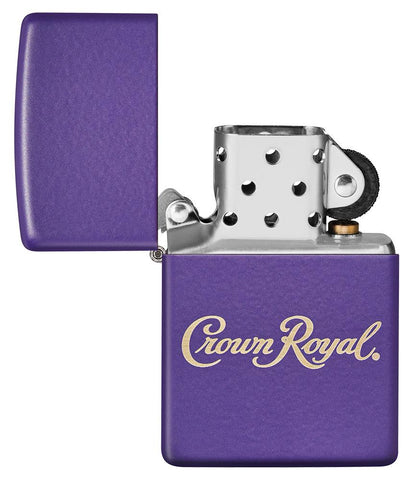 Crown Royal® Purple Matte Windproof Lighter with its lid open and unlit