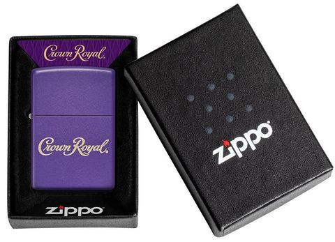 Crown Royal® Purple Matte Windproof Lighter in its packaging