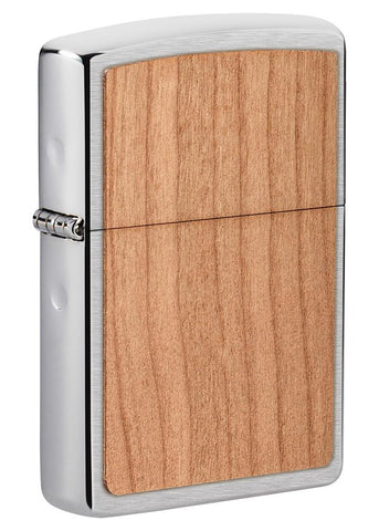 Front shot of WOODCHUCK USA Cherry Emblem Windproof Lighter standing at a 3/4 angle