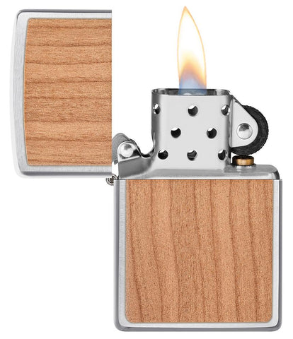WOODCHUCK USA Cherry Emblem Windproof Lighter with its lid open and lit