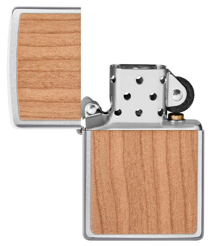 WOODCHUCK USA Cherry Emblem Windproof Lighter with its lid open and unlit