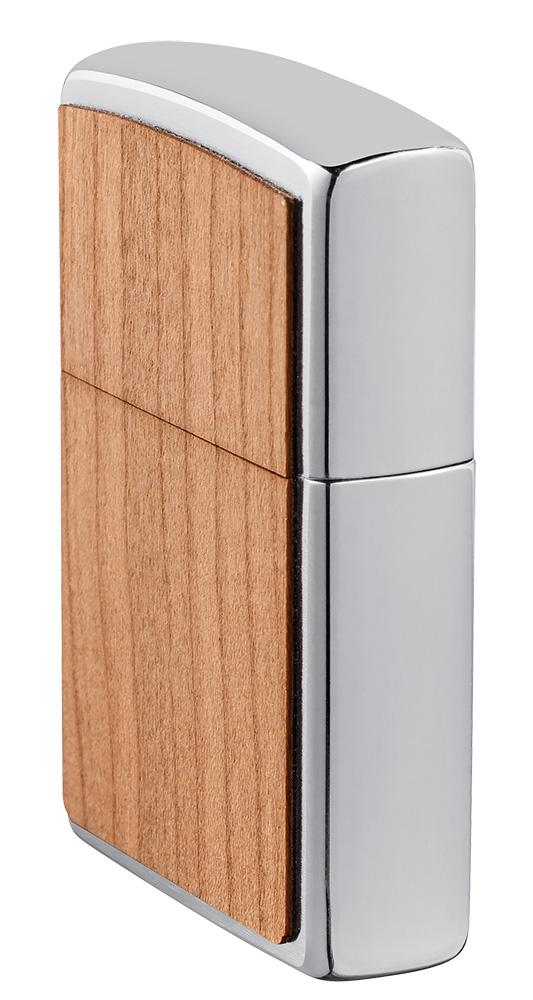 WOODCHUCK USA Cherry Emblem Windproof Lighter standing at an angle showing the front and right side of the lighter