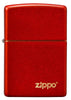 Front of Classic Metallic Red Matte Zippo Logo Windproof Lighter