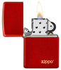 Classic Metallic Red Matte Zippo Logo Windproof Lighter with its lid open and lit